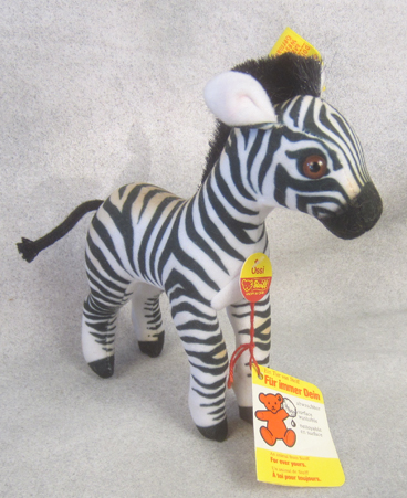 1980s 1512/16 Steiff Velvet Ossi Zebra. No button or cloth tag. $82.00