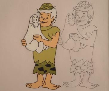 "Bamm Bamm as teen holding a shmoo. 5"" x 4.5"" cel size. drawing and color cel from 1970s TV.s $650.00 for pair."
