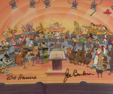 "44 Hanna Barbera Characters playing in the 50th anniversary symphony. 15"" x 11"" image size. Signed Framed. $1500.00"