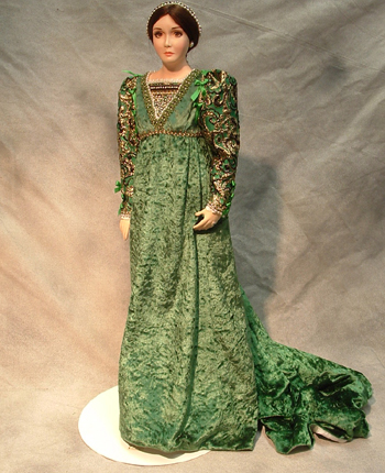 "Crees & Co Juliet is dressed in a new green dress (not the original red) in her original pose from 1993. 26"" poured wax doll comes with original box. $1995.00"