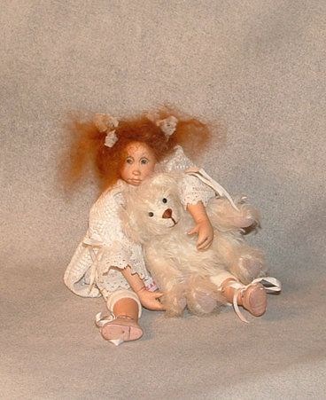 "Yvonne Flipse's 10"" bisque girl with her bear $995.00"