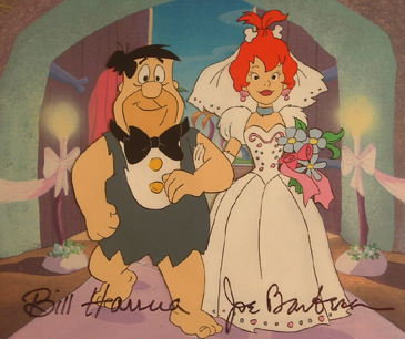 "Fred and Pebbles walking down the aisle. 7.5"" x 6"" Production cel, signed. Matted. $500.00"