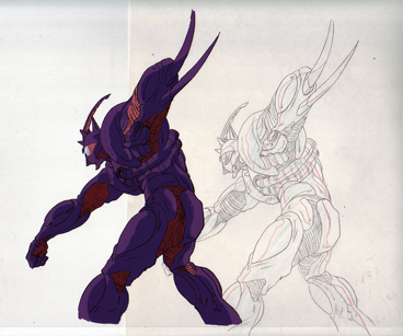 Guyver III punching production cel and drawing from Guyver $35.00