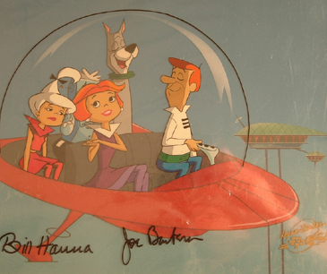 "The Jetsons without Elroy flying in their car. 10"" x 12"" with Key Master Background. Signed and Matted. $950.00"