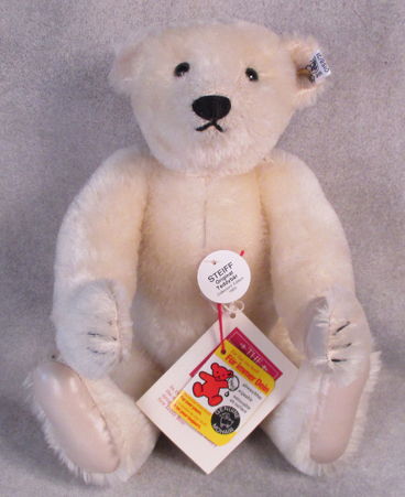0158/31 Steiff White Original Teddybar with leather paws from 1985 $160.00