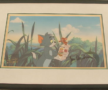 Tom & Jerry holding milk carton, signed Joe Barbera. Color copied background $545.00